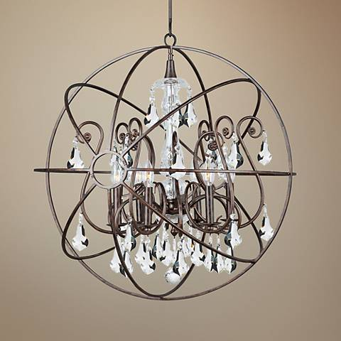 "Crystorama Solaris 28"" Wide English Bronze 6-Light Pendant"
