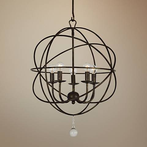 "Crystorama Solaris 17"" Wide English Bronze 5-Light Pendant"