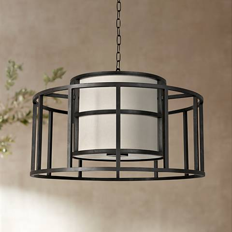 "Crystorama Hulton 25"" Wide Matte Black Pendant Light"