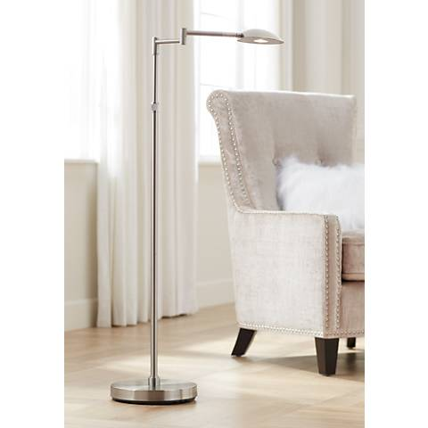 Possini Euro Eliptik Swing Arm LED Floor Lamp Satin Nickel