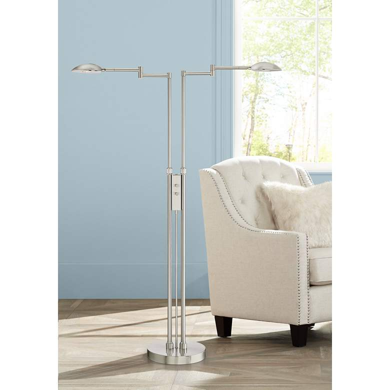 Eliptik Satin Nickel LED Double Swing Arm Floor