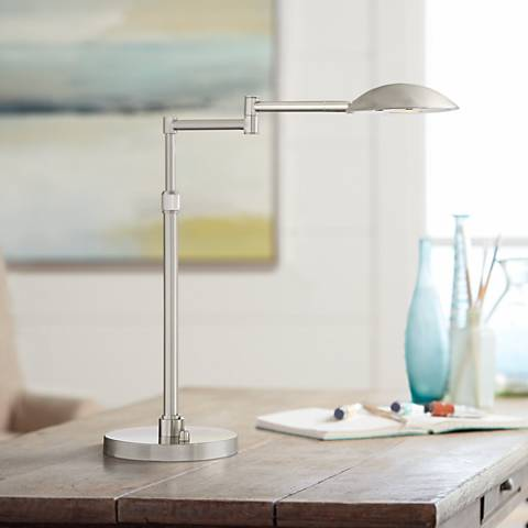 Possini Euro Eliptik LED Swing Arm Desk Lamp Satin Nickel