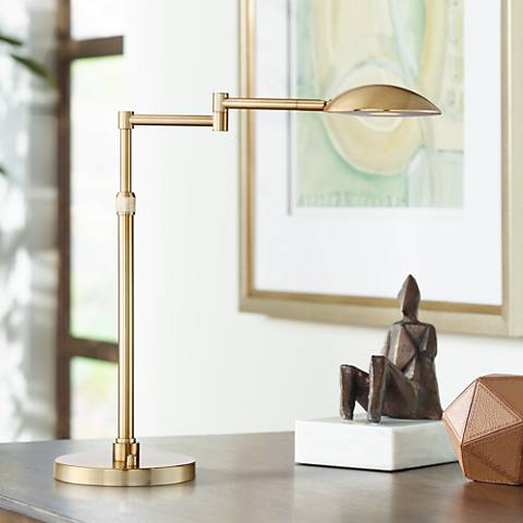 Possini Euro Eliptik Swing Arm LED Desk Lamp French Brass
