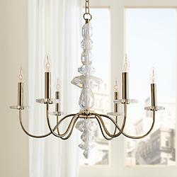 "Allegri Bolivar 24"" Wide Champagne Gold 6-Light Chandelier"