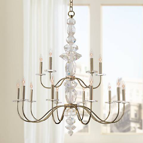 "Allegri Bolivar 38"" Wide Champagne Gold 15-Light Chandelier"