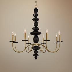 "Allegri Piedra 34"" Wide Brushed Brass 8-Light Chandelier"