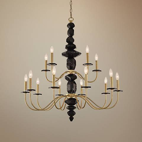 "Allegri Piedra 38"" Wide Brushed Brass 15-Light Chandelier"