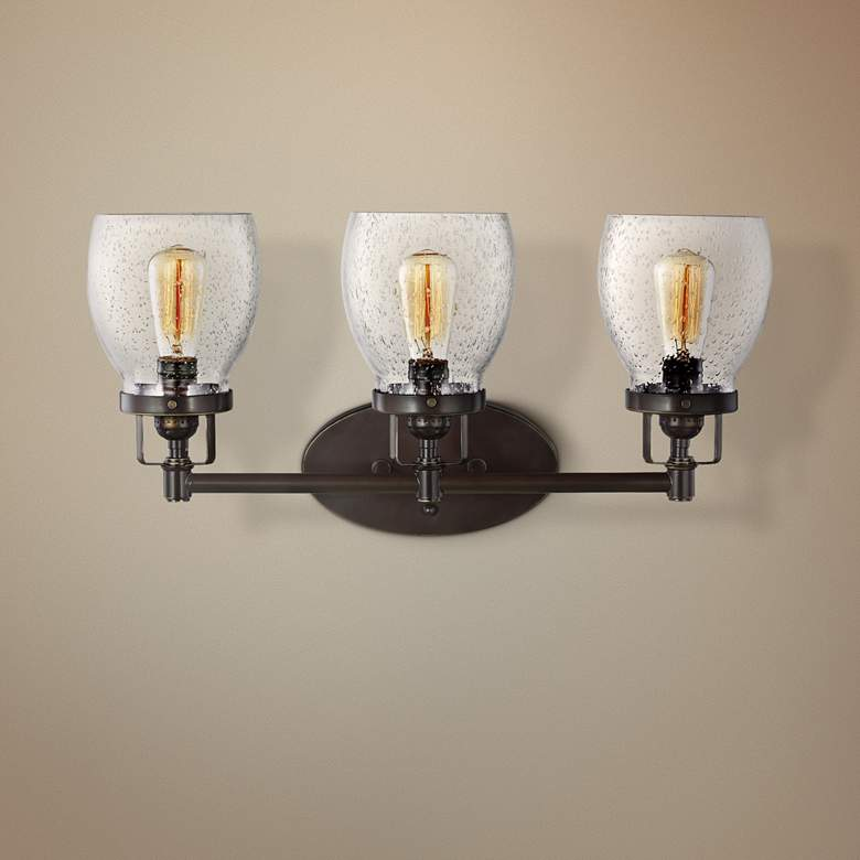 "Belton 21"" Wide Heirloom Bronze 3-Light Bath Light"