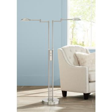 Eliptik Satin Nickel LED Double Swing Arm Floor Lamp