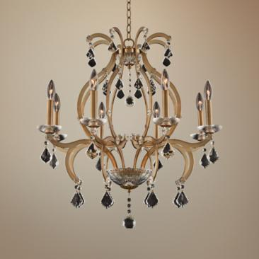 "Allegri Duchess 28"" Wide Champagne Gold 8-Light Chandelier"