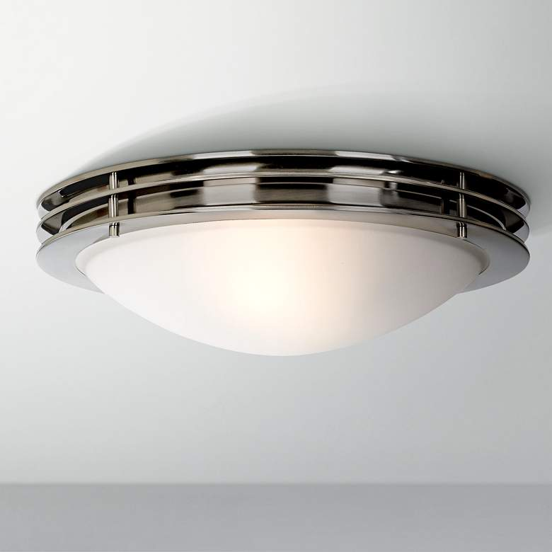 "Possini Euro 16"" Wide Brushed Nickel Bowl Ceiling"