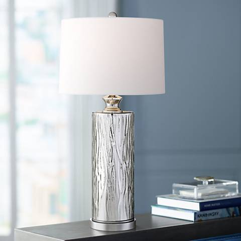 "Bebe 30 1/2"" High Silver Glass Table Lamp by 360 Lighting"
