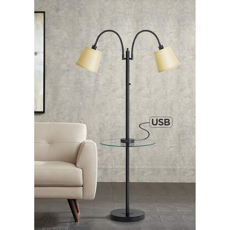 Gail Dark Bronze Double Gooseneck Floor Lamp with Tray Table