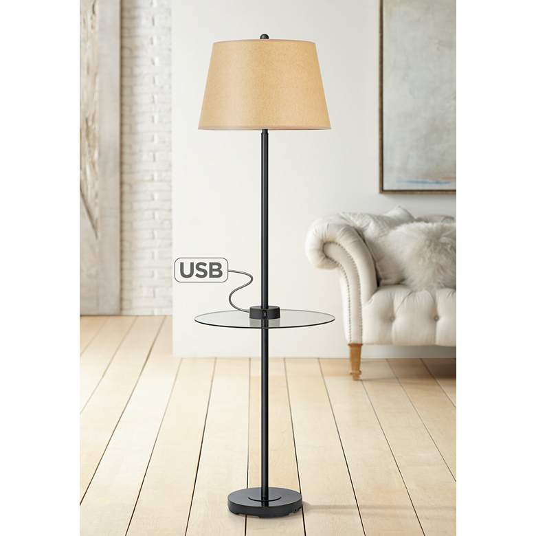 Woodbury Dark Bronze Floor Lamp w/ Tray Table and USB Ports
