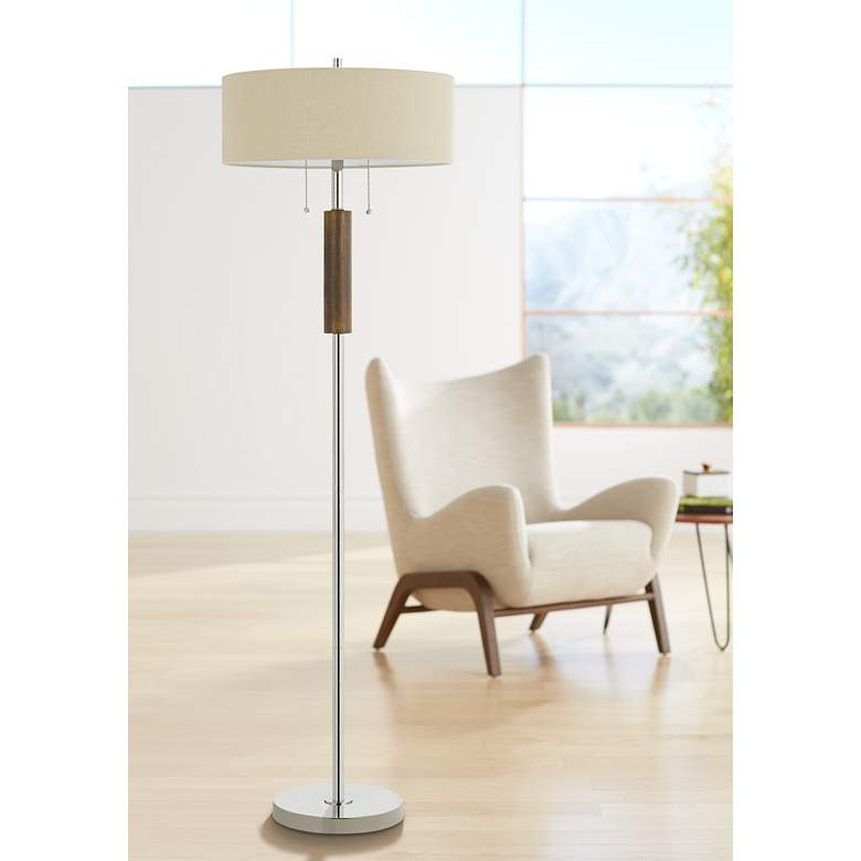 Bari Chrome Metal 2-Light Floor Lamp