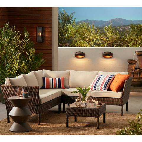 Bella Springs Wicker 4 Piece Outdoor Sectional Patio Set 23k42