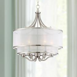 "Possini Euro Nor 23"" Wide Brushed Nickel 6-Light Pendant"