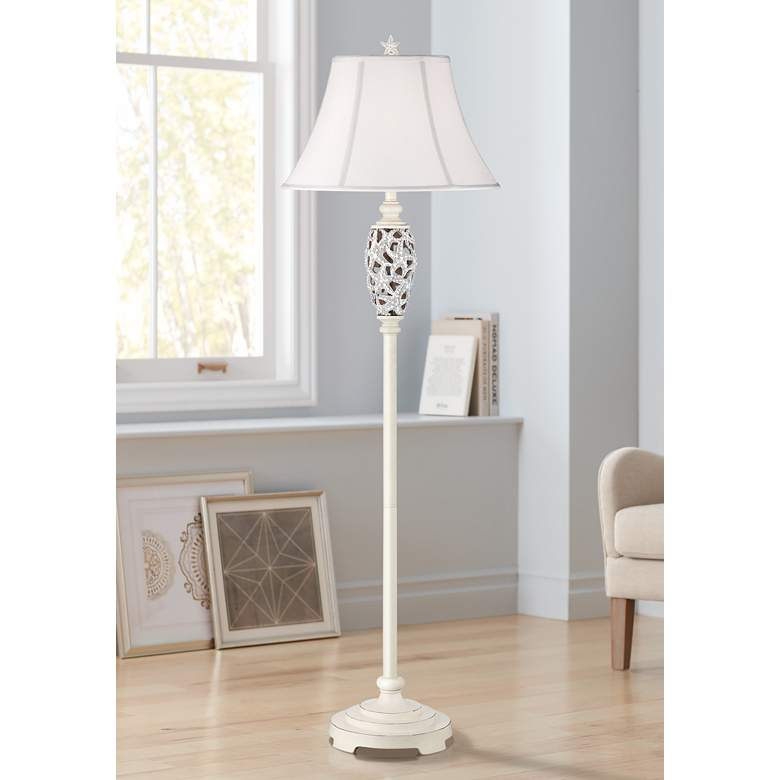 Starfish Antique Floor Lamp with Piped Linen Shade