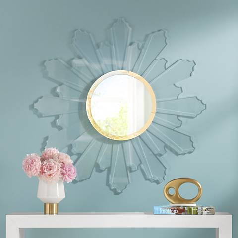 "Apollina Gold and Acrylic 39"" Round Sunburst Wall Mirror"