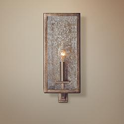"Camilla 14"" High Rustic Silver Leaf Wall Sconce"