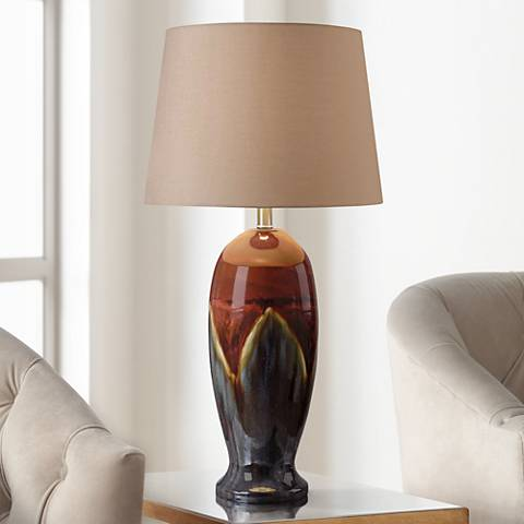 Kenroy Home Lavo Red Ceramic Glaze Table Lamp