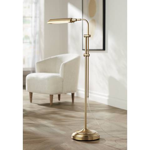 Culver Plated Aged Brass Adjustable LED Floor Lamp