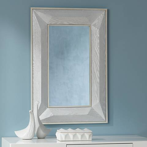 "Keily Geometric Cut White 24 3/4"" x 36 3/4"" Wall Mirror"