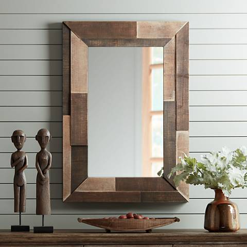"Deacon Three-Tone 28"" x 39 1/2"" Rectangular Wall Mirror"