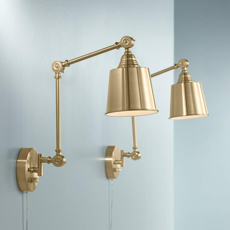 Set Of 2 Mendes Antique Br Down Light Plug In Wall Lamps