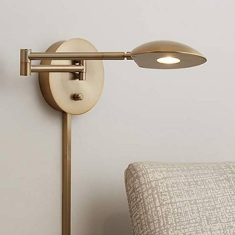 Possini Euro Eliptik French Brass LED Swing Arm Wall Lamp