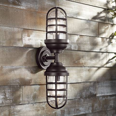 "Marlowe 22 1/2"" High Bronze Two-Light Outdoor Wall Light"