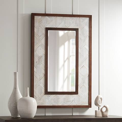 "Kit Gray and Brown Trim 31 1/2"" x 47 1/4"" Wall Mirror"