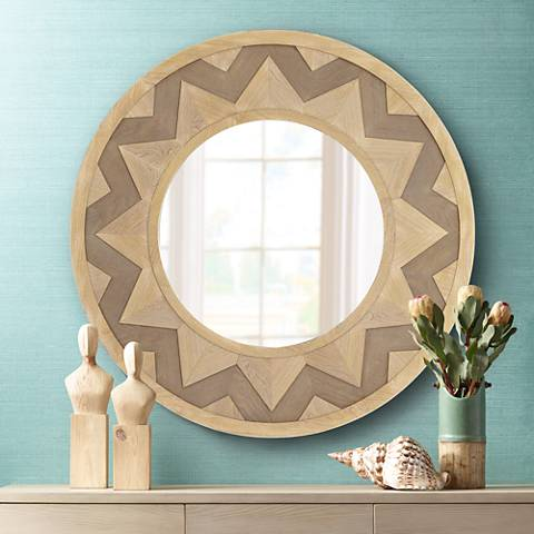 "Sol Two-Tone Chevron 39 1/4"" Round Wall Mirror"