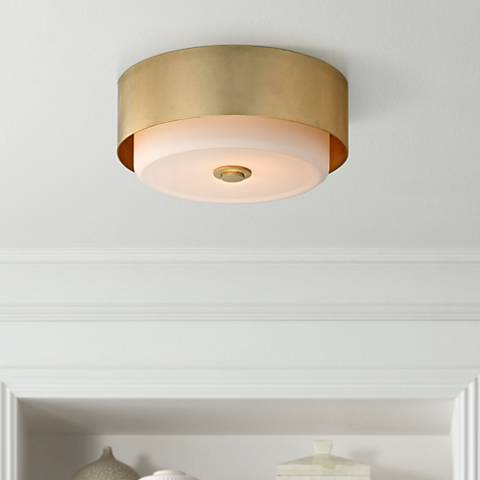 "Allure 13"" Wide Gold Leaf Round Ceiling Light"