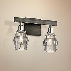 "Citizen 9"" High Graphite and Nickel 2-Light Wall Sconce"