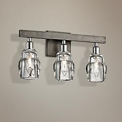 "Citizen 16 1/2"" Wide Graphite and Nickel 3-Light Bath Light"