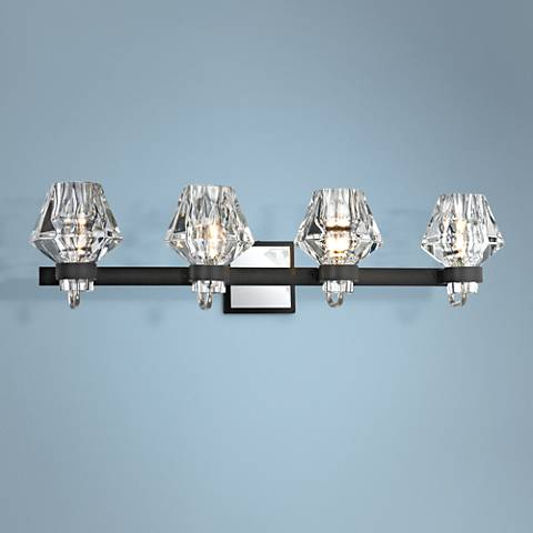 "Faction 30 1/2""W Iron and Polished Nickel 4-Light Bath Light"