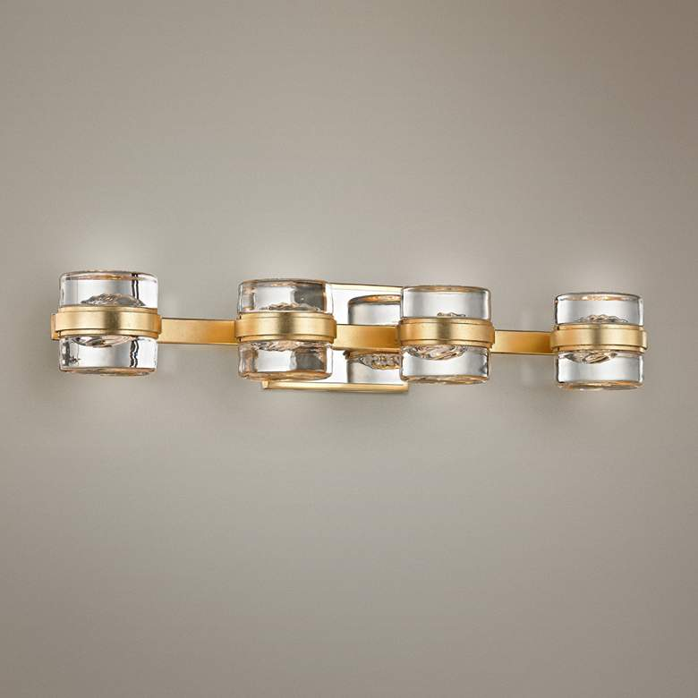 "Splash 25 1/4"" Wide Gold Leaf 4-Light LED"