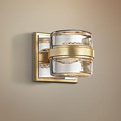 "Splash 4 1/2"" High Gold Leaf LED Wall Sconce"