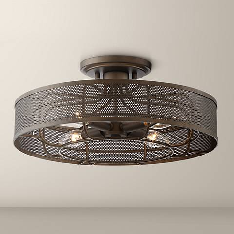"Nevin 15"" Wide Oil Rubbed Bronze Metal Outdoor Ceiling Light"