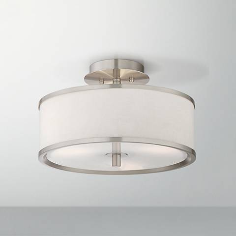 "Possini Euro Tobie 14"" Wide Brushed Nickel Ceiling Light"