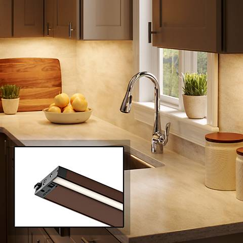 "Kichler 6U 12"" Wide Bronze Textured LED Under Cabinet Light"