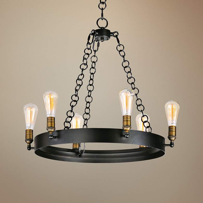 "Maxim Noble 26"" Wide Black and Aged Brass 6-Light Chandelier"