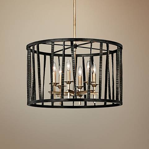 "Bastille 25""W Pompeii Silver and Silver Leaf 6-Light Pendant"