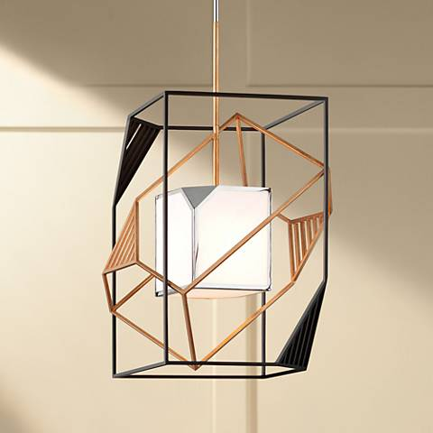 "Cubist 18"" Wide Bronze and Gold Leaf Pendant Light"