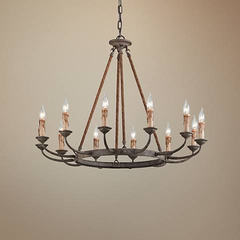 "Cyrano 36"" Wide Earthen Bronze 12-Light Chandelier"