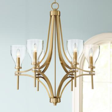 "Hex 26 1/2"" Wide Warm Antique Brass 6-Light Chandelier"