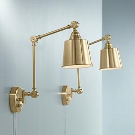 Set of 2 Mendes Antique Brass Down-Light Plug-In Wall Lamps