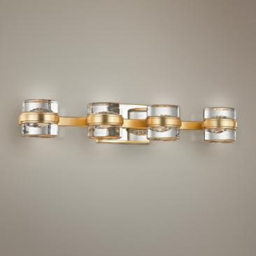 "Splash 25 1/4"" Wide Gold Leaf 4-Light LED Bath Light"