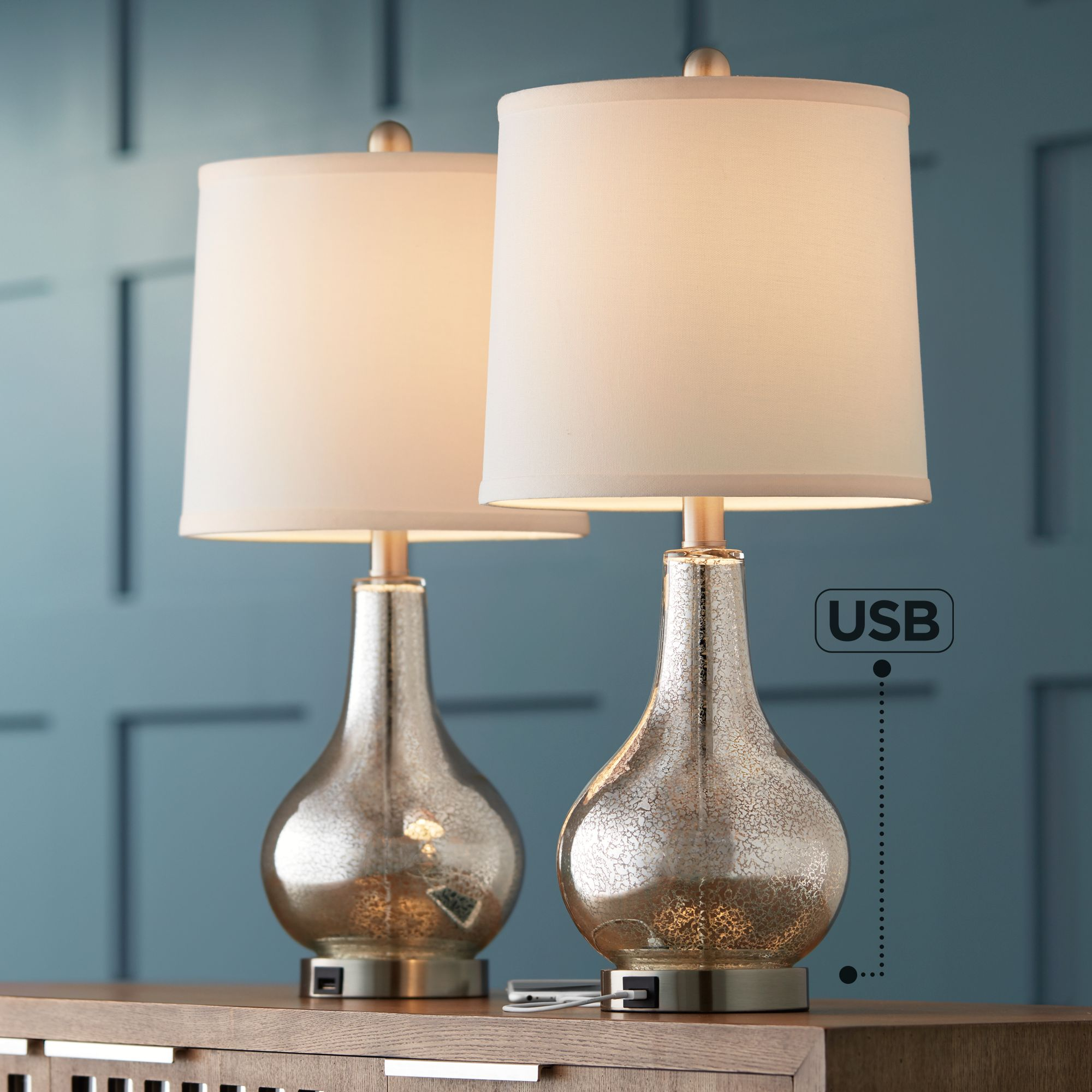 Delicieux Ledger Mercury Glass Accent USB Table Lamp Set Of 2